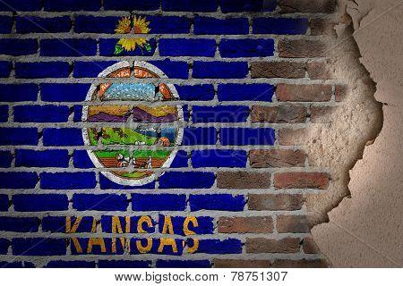 Dark Brick Wall With Plaster - Kansas