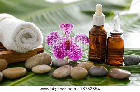 spa supplies with orchid, oil, towel,on banana leaf
