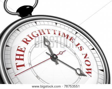 The Right Time Is Now Concept Clock