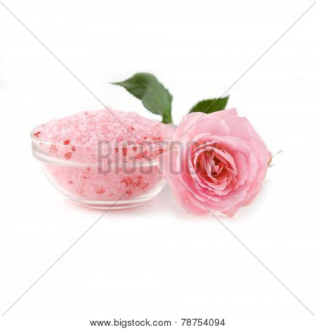 Pink Rose with many salt in bowl