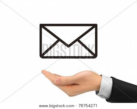 E-mail Icon Holding By Realistic Hand