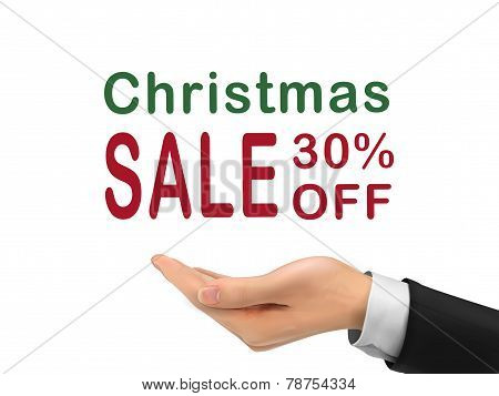 Christmas Sale 30 Percent Off Holding By Realistic Hand