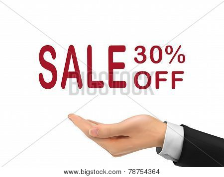 Sale 30 Percent Off Holding By Realistic Hand