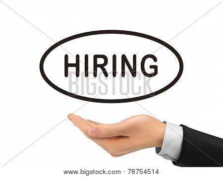 Hiring Word Holding By Realistic Hand