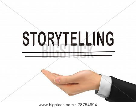 Storytelling Word Holding By Realistic Hand