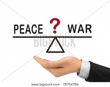 Balance Between Peace And War Holding By Realistic Hand
