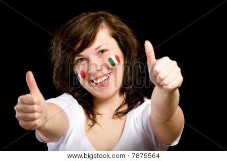 Young Female Italian Team Fan Isolated On Black