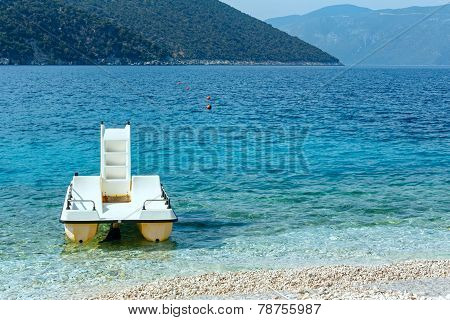 Summer Sea View Of Antisamos Beach And Catamaran.