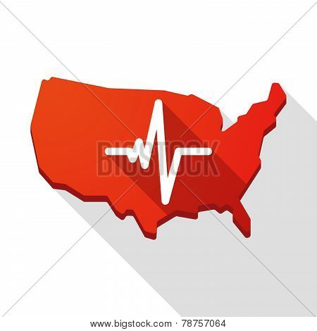 Usa Map Icon With A Heart Beat Sign