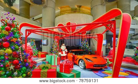 Santa Claus, 2014 Corvette, Presents, and Christmas Trees