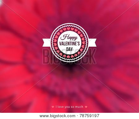 Happy Valentine's Day Text on Blurred Background with Gerbera Flower.