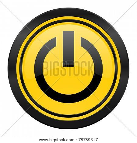 power icon, yellow logo, on off sign