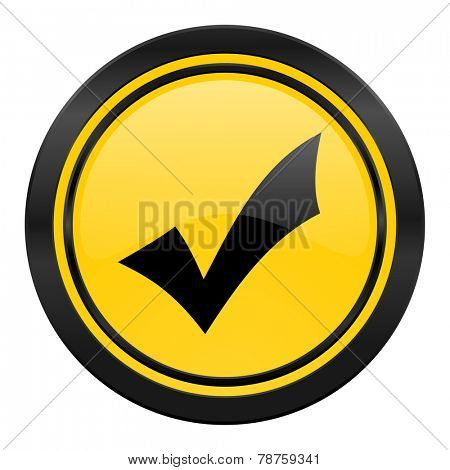 accept icon, yellow logo, check sign