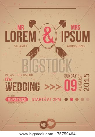 Vintage wedding invitation card with textured design elements.