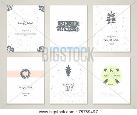 Set of bright romantic wedding invitations.