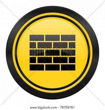 firewall icon, yellow logo, brick wall sign