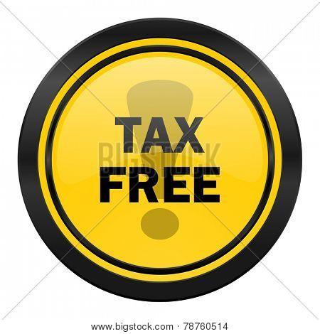 tax free icon, yellow logo,