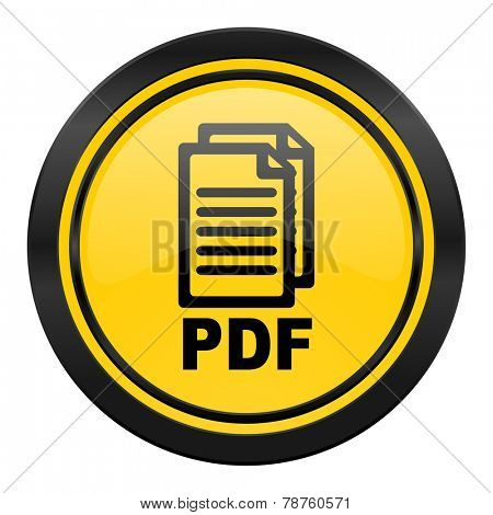 pdf icon, yellow logo, pdf file sign