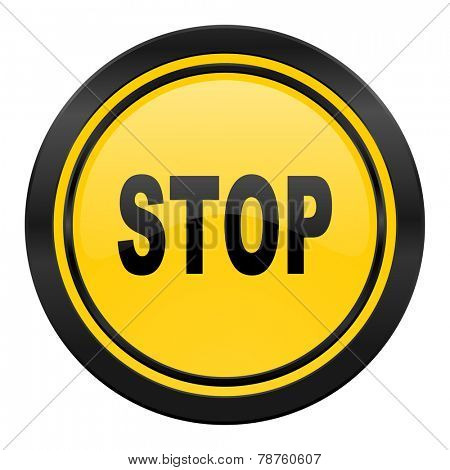 stop icon, yellow logo
