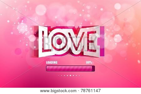Vector convex paper inscription love cut on a pink background