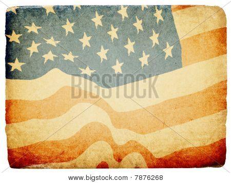 Fondo del tema patriótico estadounidense de grunge. Aislado sobre fondo blanco, bordes rotos.