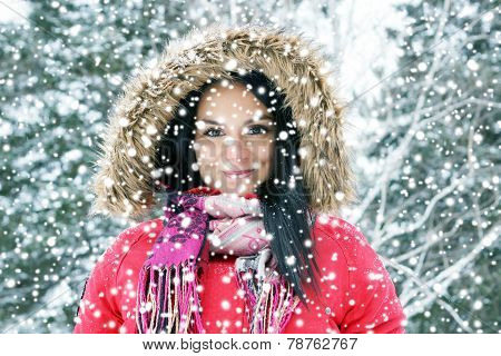 Young Woman In Red Heavy Snow