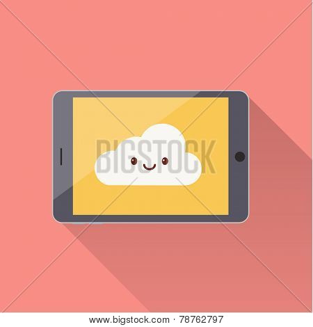 Tablet with cloud icon - flat style illustration