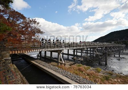 Tourists Visit Togetsukyo In Kyoto, Japan