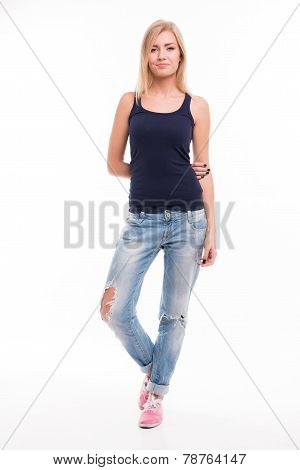 Beautiful  blond girl on white background