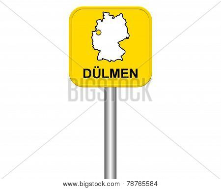 Sign of german city Duelmen