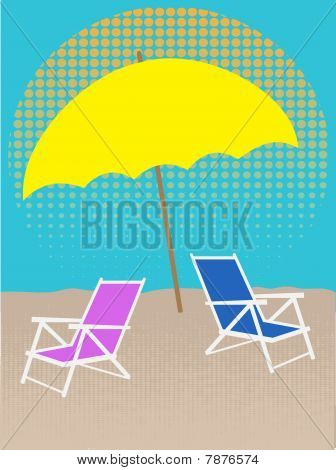 White Chair on Beach Under Umbrella Halftones