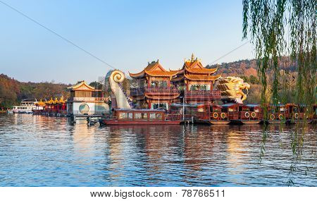 Chinese Wooden Boats, West Lake, Hangzhou, China