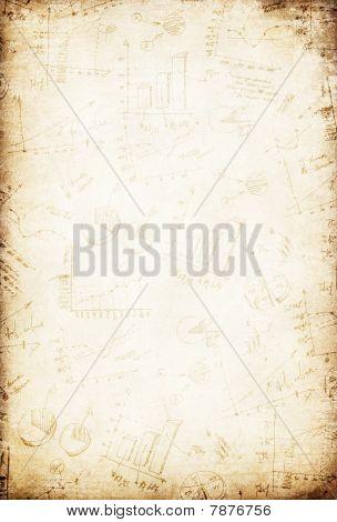 Grunge Vintage Business Graph Paper Background.