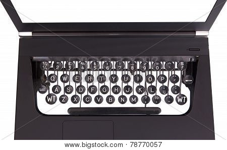Laptop With Old Fashioned Typewriter Keys