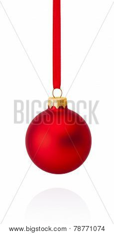 Red Christmas Ball Hanging On Ribbon Isolated On White Background