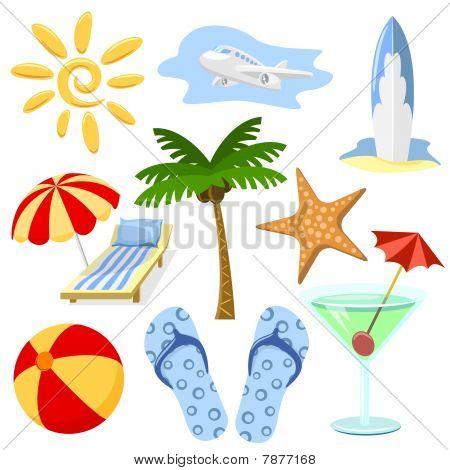 Summer and travel symbols