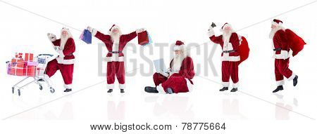 Composite image of different santas on white background