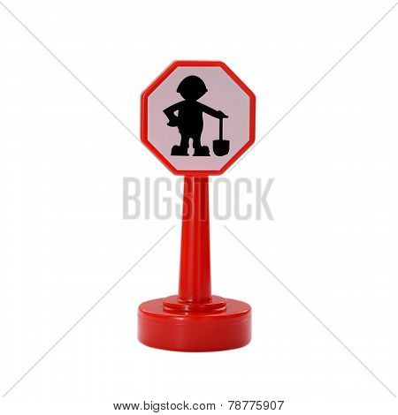 construction road sign, a man with shovel and helmet isolated on white