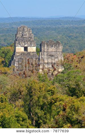 Aerial view of Temple I and Temple II in Tikal, Guatemala