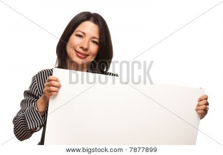 Attractive Multiethnic Woman Holding Blank White Sign