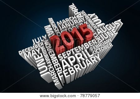 2015 word jumble with months against blue background with vignette
