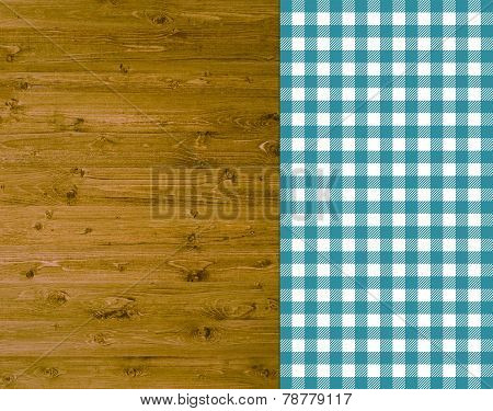 Rustic wooden background with tablecloth turquoise