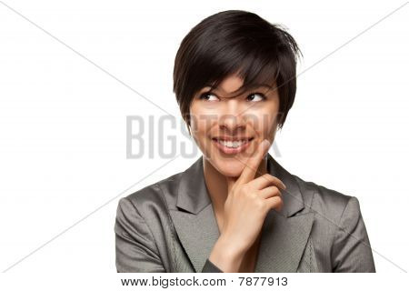 Pretty Smiling Multiethnic Young Adult Woman With Eyes Up And Over