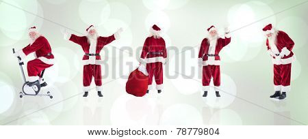 Composite image of different santas against grey abstract light spot design