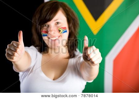 South Africa Fan, Thumbs Up, Flag As Background