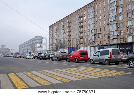 Moscow, Russia, November, 25, 2014: Cars stands in traffic jam on Lusinovscaya str. in Moscow, Russia