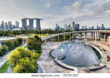 Singapore Skyline From Marina Barrage