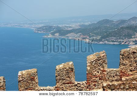 Ruins of Ottoman fortress in Alanya