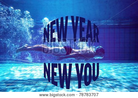 Fit swimmer training by himself against new year new you