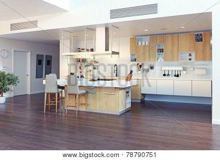 modern kitchen interior with kitchen island (3d illustration)